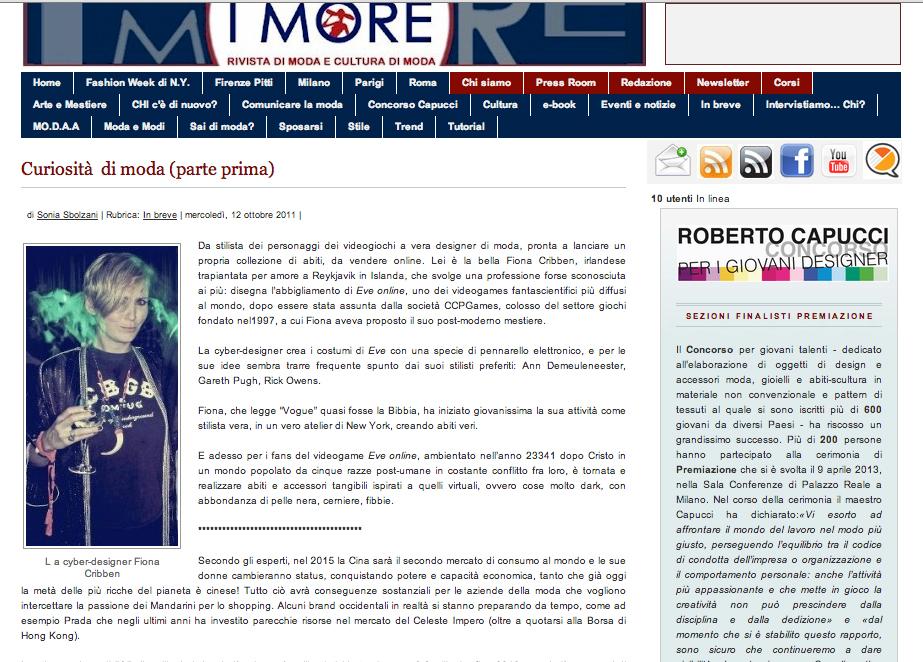icelandic jewellery, fiona cribben, Italian newspaper